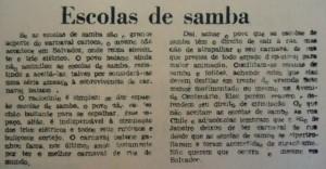 A imprensa passou a apoiar a extinção das escolas de samba do carnaval soteropolitano. [Diário de Notícias, 09 a 12/02/1975]